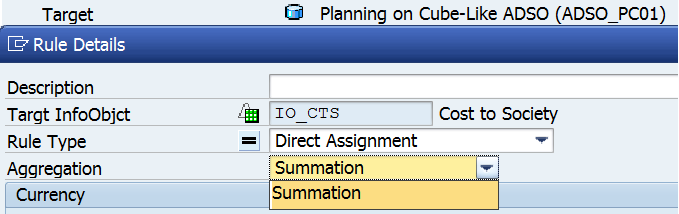 Figure 26. Rule Details in transformation to Planning on Cube-like ADSO