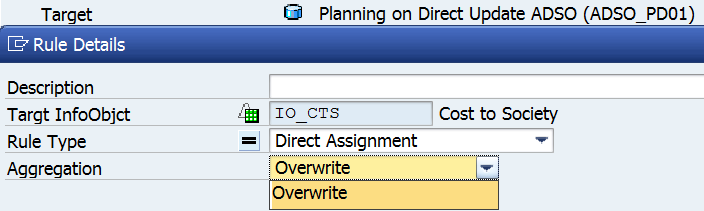 Figure 31. Rule Details in transformation to Planning on Direct Update ADSO