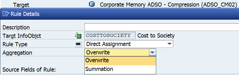 Figure 9. CM – Compression rule aggregation options, you can pick both Overwrite & Summation